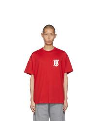 T-shirt à col rond imprimé rouge Burberry