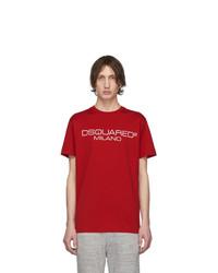 T-shirt à col rond imprimé rouge DSQUARED2