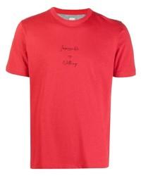 T-shirt à col rond imprimé rouge Eleventy