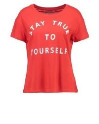 T-shirt à col rond imprimé rouge Even&Odd
