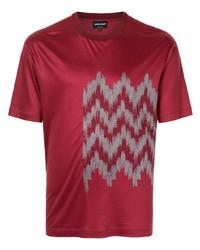 T-shirt à col rond imprimé rouge Giorgio Armani
