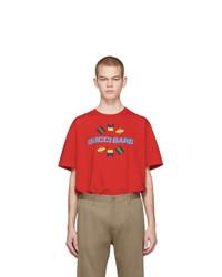 T-shirt à col rond imprimé rouge Gucci