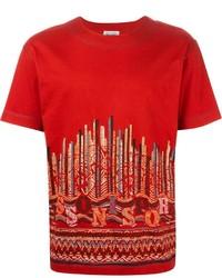 T-shirt à col rond imprimé rouge Missoni