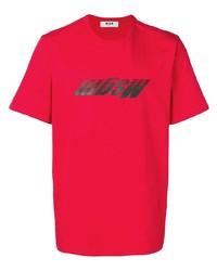 T-shirt à col rond imprimé rouge MSGM