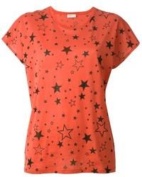 T-shirt à col rond imprimé rouge Saint Laurent