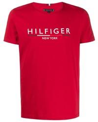 T-shirt à col rond imprimé rouge Tommy Hilfiger