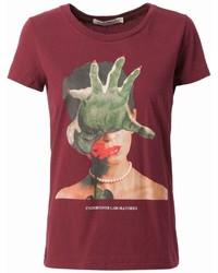 T-shirt à col rond imprimé rouge Undercover