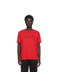 T-shirt à col rond imprimé rouge Valentino