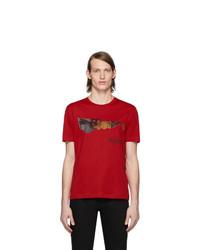 T-shirt à col rond imprimé rouge Versace