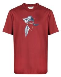 T-shirt à col rond imprimé rouge Z Zegna