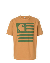 T-shirt à col rond imprimé tabac