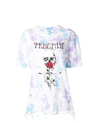 T-shirt à col rond imprimé tie-dye blanc Alchemist