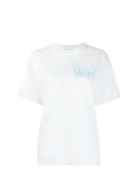 T-shirt à col rond imprimé tie-dye blanc ARIES