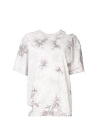 T-shirt à col rond imprimé tie-dye blanc Le Ciel Bleu
