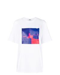 T-shirt à col rond imprimé tie-dye blanc MSGM