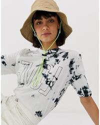T-shirt à col rond imprimé tie-dye blanc Weekday
