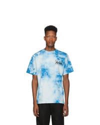 T-shirt à col rond imprimé tie-dye bleu clair