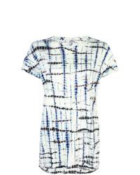 T-shirt à col rond imprimé tie-dye bleu marine et blanc Proenza Schouler