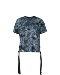 T-shirt à col rond imprimé tie-dye bleu marine Sacai