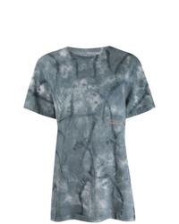 T-shirt à col rond imprimé tie-dye bleu