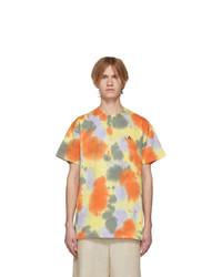T-shirt à col rond imprimé tie-dye jaune