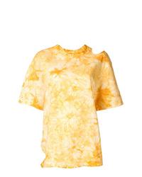 T-shirt à col rond imprimé tie-dye jaune Le Ciel Bleu