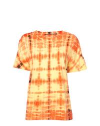 T-shirt à col rond imprimé tie-dye jaune Proenza Schouler