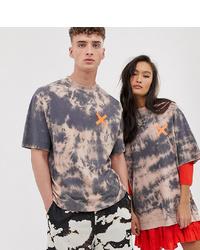 T-shirt à col rond imprimé tie-dye marron Collusion