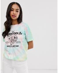 T-shirt à col rond imprimé tie-dye multicolore