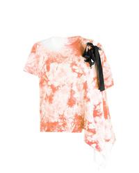 T-shirt à col rond imprimé tie-dye orange Sacai