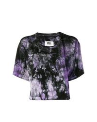T-shirt à col rond imprimé tie-dye pourpre foncé MM6 MAISON MARGIELA