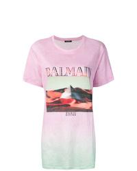 T-shirt à col rond imprimé tie-dye rose Balmain