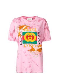 T-shirt à col rond imprimé tie-dye rose Gucci