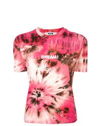 T-shirt à col rond imprimé tie-dye rose MSGM