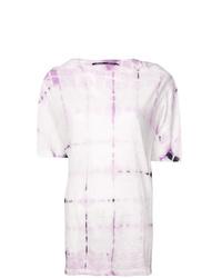 T-shirt à col rond imprimé tie-dye rose Proenza Schouler