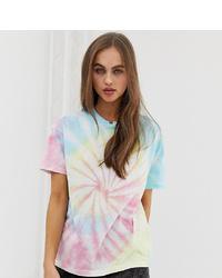 T-shirt à col rond imprimé tie-dye rose Pull&Bear