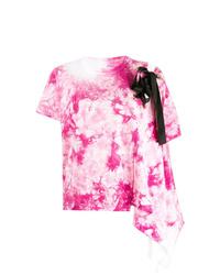 T-shirt à col rond imprimé tie-dye rose Sacai