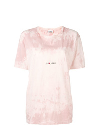 T-shirt à col rond imprimé tie-dye rose Saint Laurent