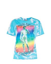 T-shirt à col rond imprimé tie-dye turquoise
