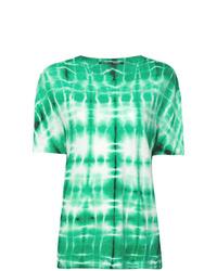 T-shirt à col rond imprimé tie-dye vert menthe