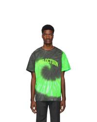 T-shirt à col rond imprimé tie-dye vert