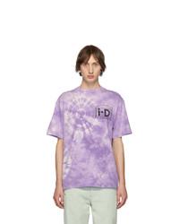 T-shirt à col rond imprimé tie-dye violet clair