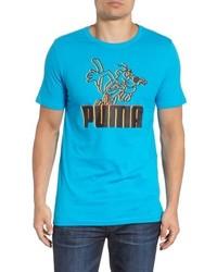 T-shirt à col rond imprimé turquoise
