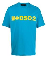 T-shirt à col rond imprimé turquoise DSQUARED2