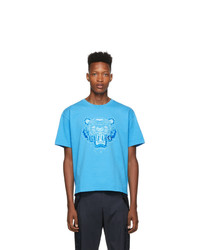 T-shirt à col rond imprimé turquoise Kenzo