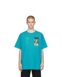 T-shirt à col rond imprimé turquoise Off-White