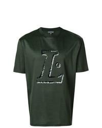 T-shirt à col rond imprimé vert foncé