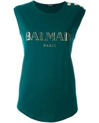 T-shirt à col rond imprimé vert foncé Balmain