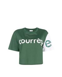 T-shirt à col rond imprimé vert foncé Courreges