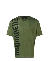 T-shirt à col rond imprimé vert foncé DSQUARED2